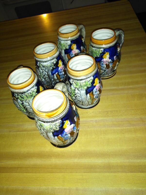 Beer mugs ceramic Set Of Six