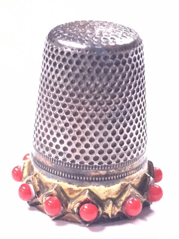 Vintage Lotthammer Stutzel Germany Thimble Silver Garnets