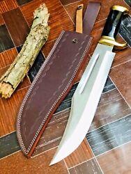 18 MH CUSTOM HANDMADE D2 HUNTING CROCODILE DUNDEE HIGH POLISH BOWIE KNIFE