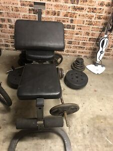 Gym equipment, weights and bench