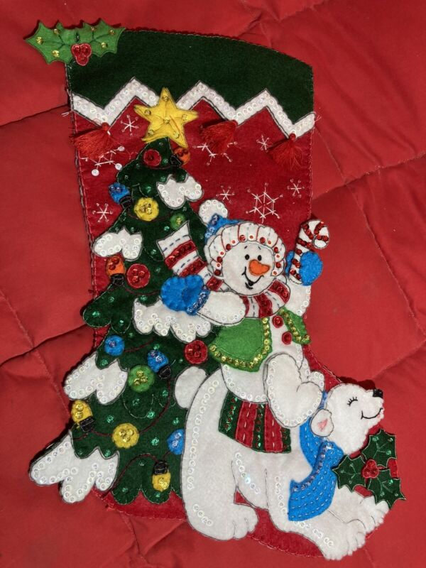 Bucilla RETIRED Holiday Christmas Stocking COMPLETE HAND MADE