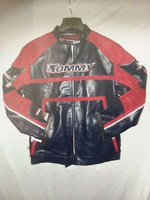 Genuine Leather Racing Jacket (Vintage Genuine Leather Tommy Hilfiger Motorcycle Racing Jacket Size XL  )