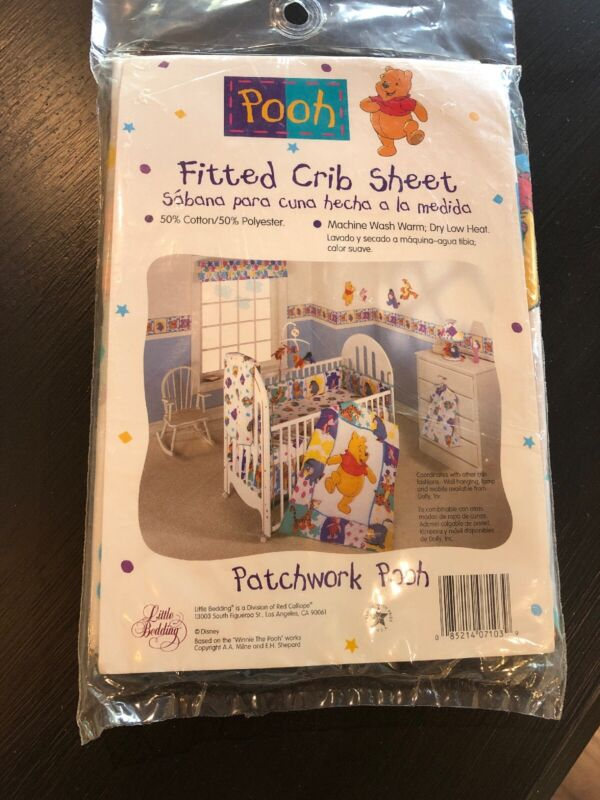 Disney PATCHWORK POOH Winnie the Pooh Fitted Crib Sheet NEW