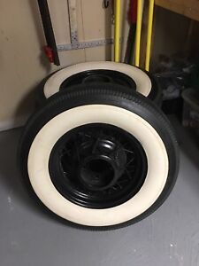"""6.50 - 16"""" bf Goodrich tires with 4 1935 16"""" wire wheels"""