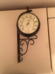 Double Sided Outdoor Wall Clock And Temperature