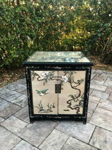 VINTAGE CHINESE Night Stand / Side Table / Cabinet With Glass MOTHER OF PEARL
