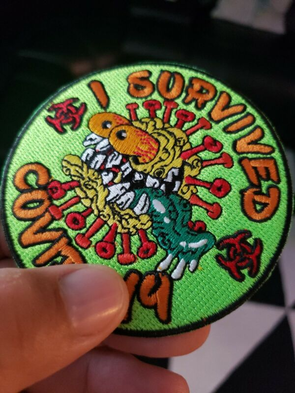I SURVIVED CORONA 2020 EMBROIDERED PATCH IRON / SEW-ON 3.5