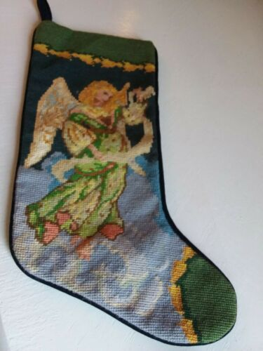 Needlepoint Vtg christmas stocking Angel clouds 20 x7.75