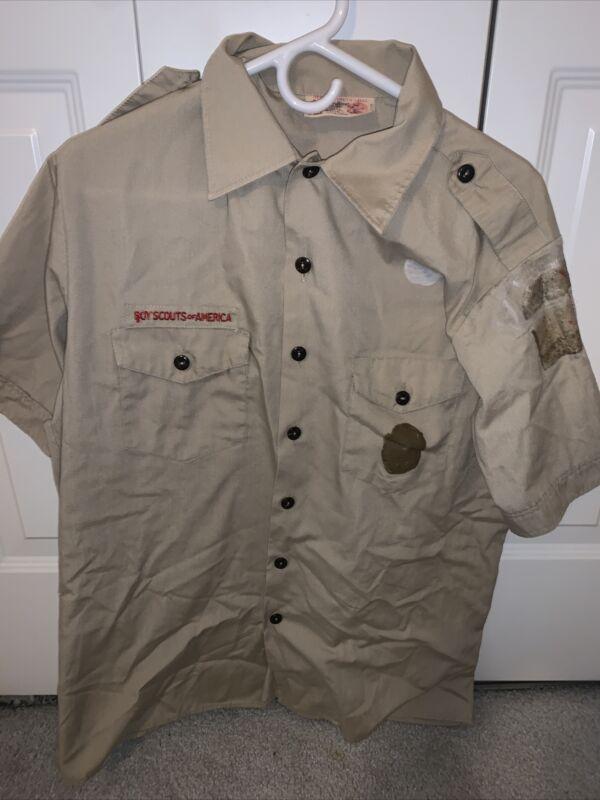 Boy Scout BSA UNIFORM SHIRT  Youth 2XL XXL Short Sleeve Tan L35