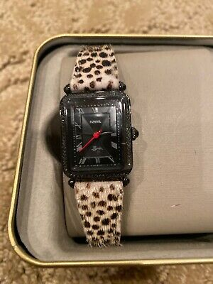 NEW Fossil Lyric Watch Cheetah Faux Hair Fur Three-Hand Black Dial Animal Print