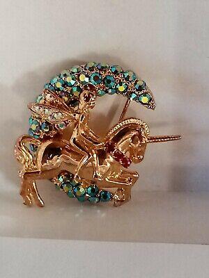 Kirks Folly Unicorn Fairy Crystal Brooch