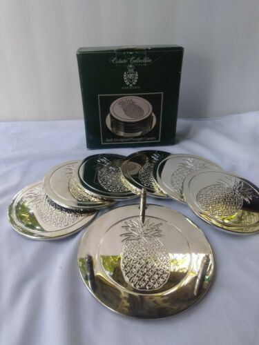 Set/6 Estate Collection Belk Home Accents Silverplate Pineapple Coasters