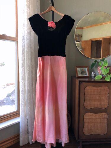 30s Dress Black Velvet Pink Ombre Gown Silk Rose Corsage Bustle Vtg 1930s 40s