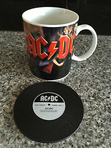 BNIB Genuine AC/DC Merchandise Album Cover Print Ceramic Coffee Mug & Coaster
