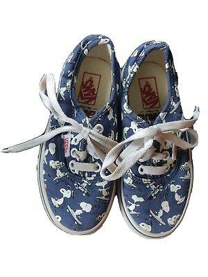 Vans Peanuts Snoopy Kids Shoes sz 11 pre-owned blue and white