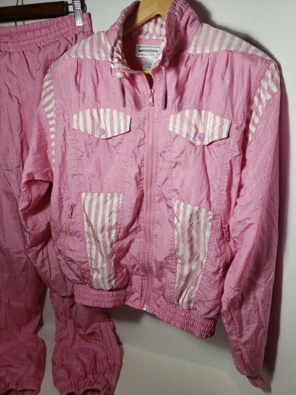 Vintage 80s 90s Westbound Sport Pink Stripe Track Windbreaker Suit Womens S