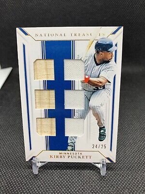 KIRBY PUCKETT /25 2019 PANINI NATIONAL TREASURES Game Used Bat Jersey Relic