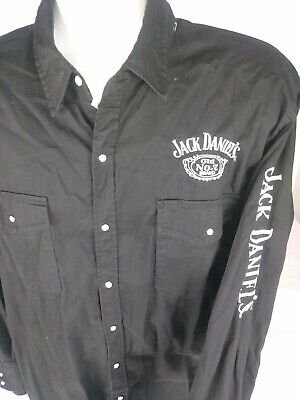Jack Daniels Embroidered Mens Black Pearl Snap Rodeo Cowboy Collar Shirt Size -
