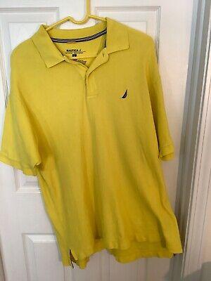 Nautica Short Sleeve Polo Shirt Mens Size Large Yellow 100% Cotton