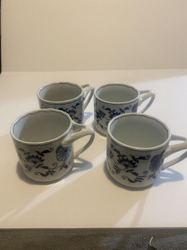 4 VINTAGE BLUE DANUBE BLUE ONION FLAT BOTTOM COFFEE CUPS ~ RECTANGLE MARK