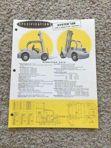 1952  Hyster 150 fork lift sales sheet.