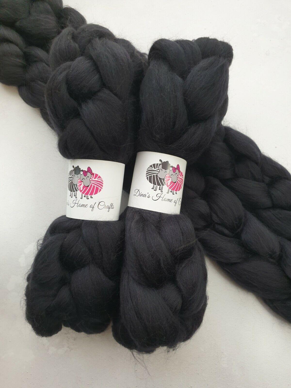 как выглядит Merino roving, wool top, 100 g, CHARCOAL фото
