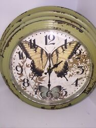 "Butterflies 10"" Distressed Metal Frame Battery Wall Clock"