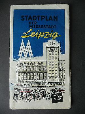 Alter Stadtplan Leipzig mit Innenstadtplan Messeplan 1959