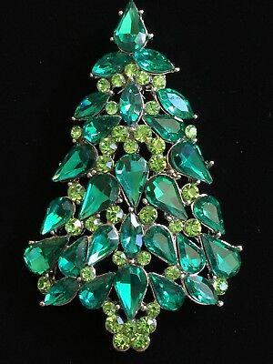 -  Multi Green Lavender Austrian Crystal CHRISTMAS TREE BROOCH JEWELRY 2.5