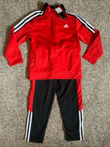 adidas Little Boys 3 Stripe Full Zip Jogger Track Suit Red Black 3T 4T 5