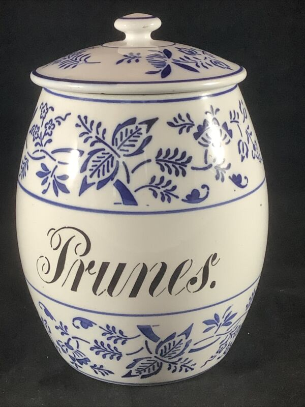 Vintage GMT & Bros. White Blue Onion Porcelain Ceramic Prunes Canister Germany