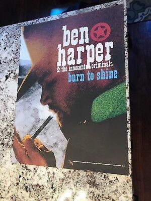 """BEN HARPER """"BURN TO SHINE"""" U.S. PROMO POSTER 24X18 VIRGIN RECORDS 1999"""