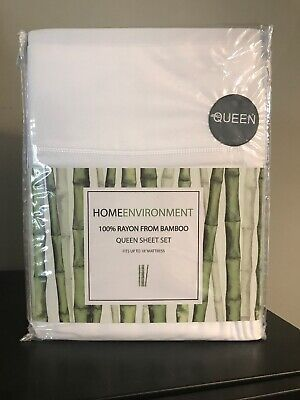 Home Environment QUEEN SHEET SET 100% Rayon From BAMBOO White COOL For Summer!