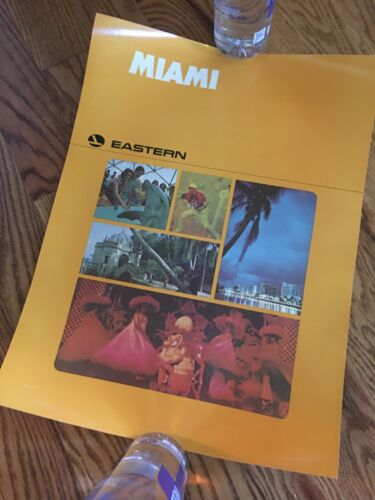 Eastern Airlines 1970s Miami travel poster 15x20