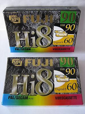 2 x FUJI P5-90DS Hi8 / DIGITAL 8 CAMCORDER TAPES /CASSETTES  free p&p