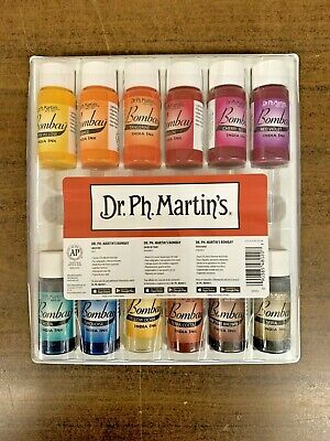 Dr. Ph. Martin's Bombay India Ink Bottles, 0.5 oz, Set of 12 Set #2 New Sealed