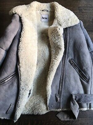 Acne Studios Velocite Gray Shearling Suede Motorcycle Jacket Coat 34