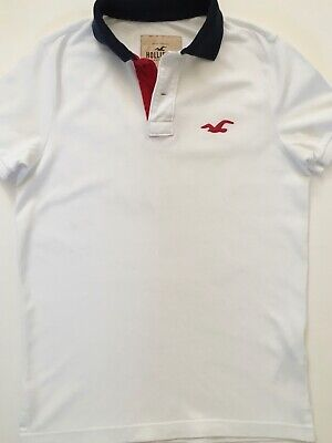 Hollister Abercrombie & Fitch Polo Shirt Small White Used
