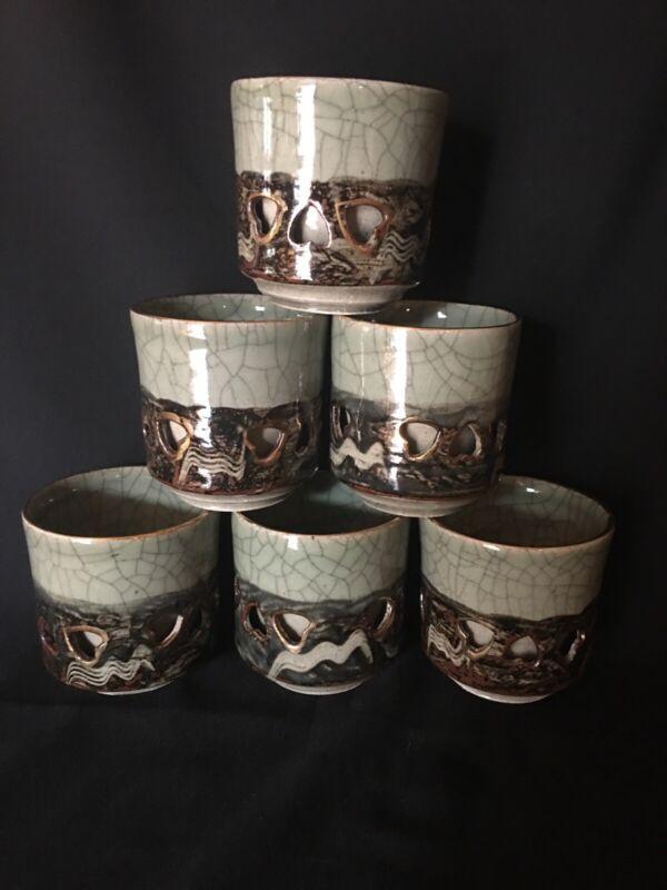 Somayaki Somaware Tea Cups Golden Horse Double Wall Hearts Japan Set of 6