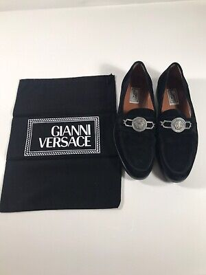 Rare Versace Medusa Head Velvet Loafers 100% Authentic 8.5UK - US 9