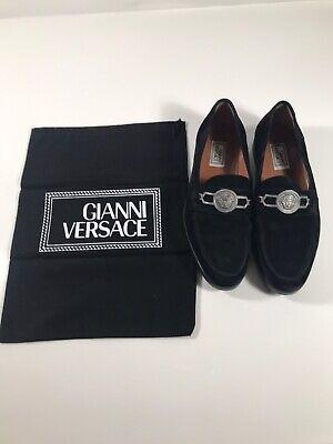 Rare Versace Medusa Head Velvet Loafers 100% Authentic 8.5UK - US 9