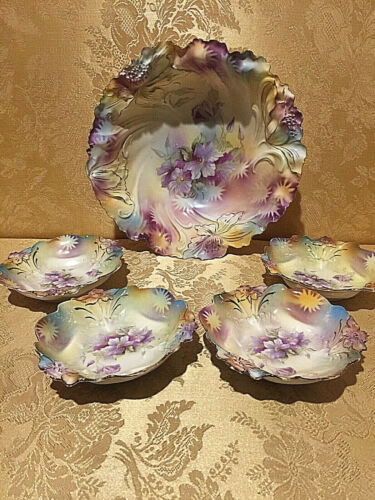 5 Piece Antique Bowl  SET HAND PAINTED  Edelweiss Orchid FLOWERS Germany