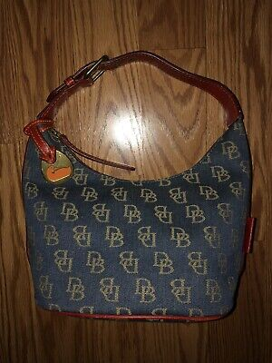 Dooney & Bourke Blue Denim Handbag,Red Leather Strap & Trim, Excellent Condition Dooney & Bourke Denim