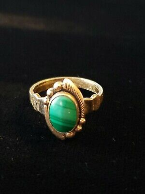1940s Jewelry Styles and History Vintage 1930s-1940s 12K Gold Filled Malachite Ring Size 4.5 Bell Trading Co $22.95 AT vintagedancer.com