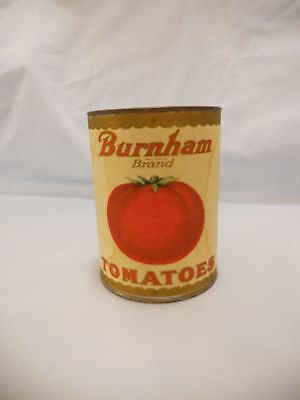 VTG Burnham Brand Tomatoes Metal Advertising Coin Bank w/Burnham Paper Label