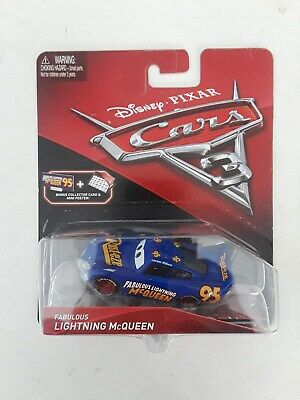 DISNEY PIXAR CARS 3 LIGHTNING MCQUEEN W/COLLECTOR CARD & MINI POSTER FREE US SHI