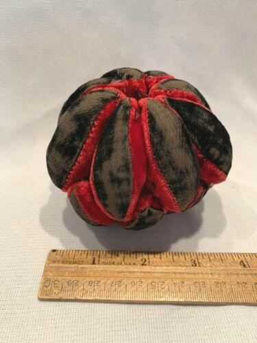 Unusual Antique Victorian Handmade Red + Black Velvet Pincushion ScissorsHolder