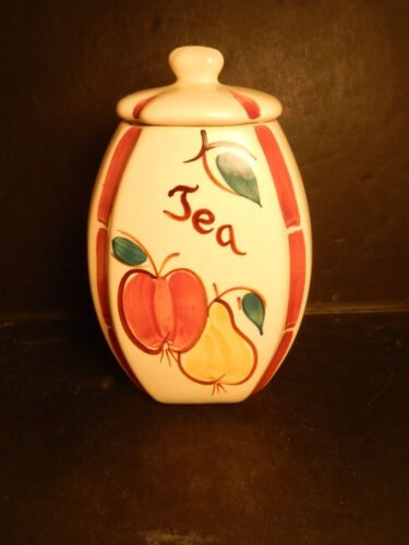 Vintage Purinton Pottery Slip Ware Tea Canister Apple Pear Good Condition