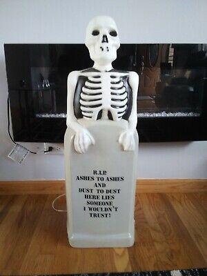 "Empire skeleton on tomb stone blow mold Halloween 36"" JOL lights up"