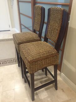 2 X exquisite Balinese Timber and Rattan bar stools. Never used